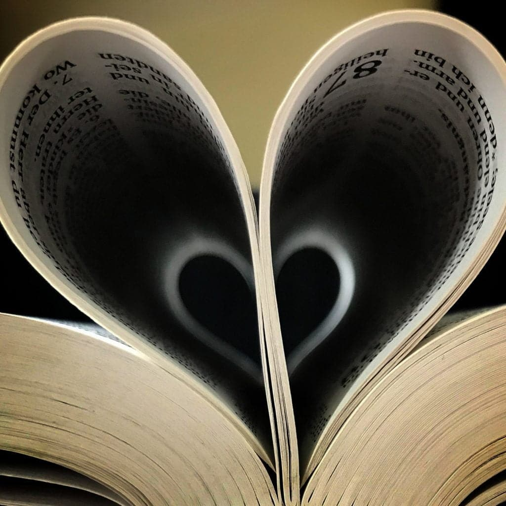 Bible pages used to make a heart shape - love
