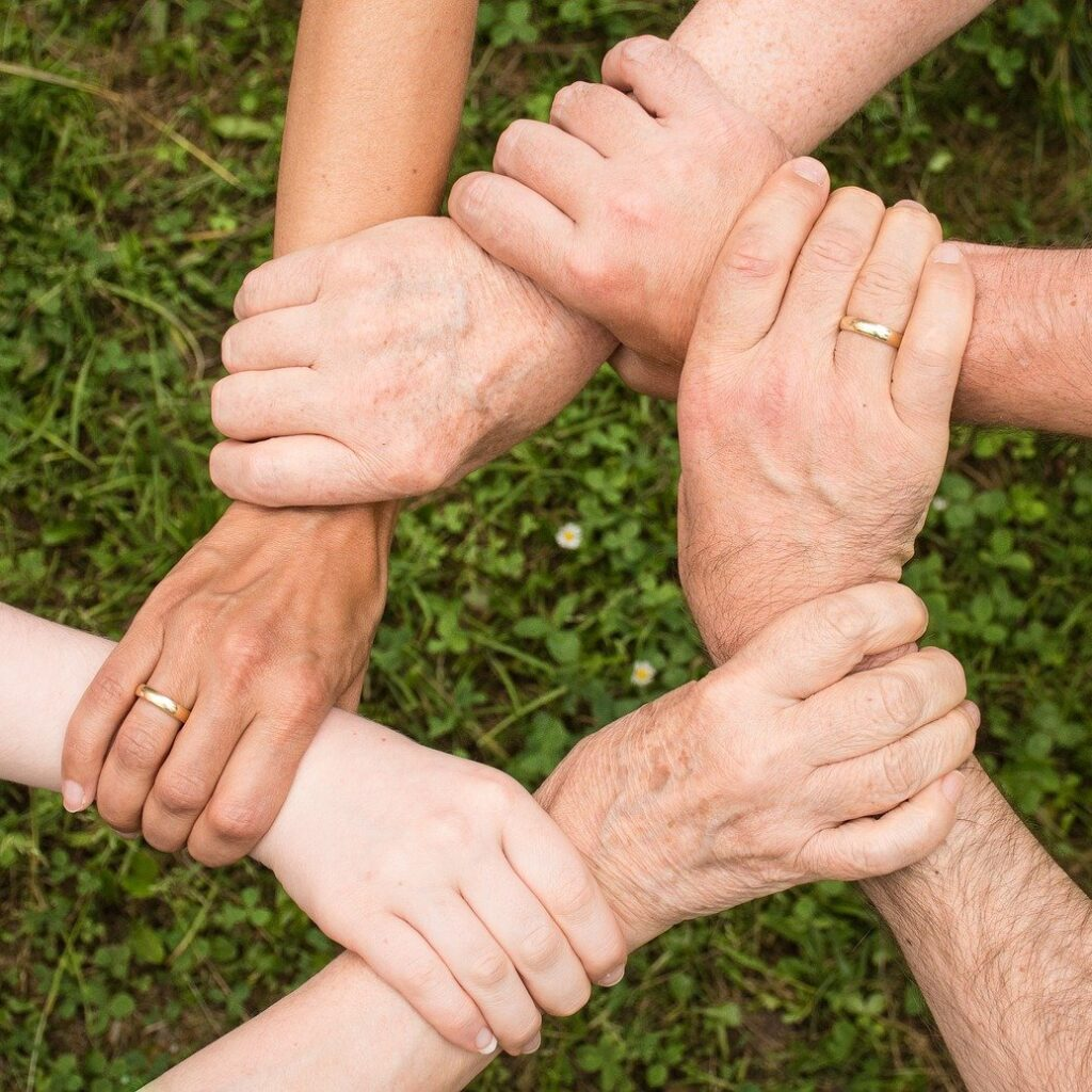 Hands Join together serving others